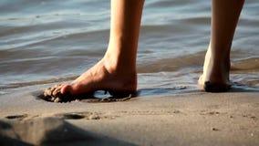 Walking on the beach stock footage