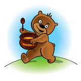 Walking bear with spoon and honey pot Royalty Free Stock Photos