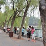Walking in Beihai Park in Beijing Stock Images