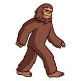 Walking Bigfoot drawing. Comic style cartoon bigfoot walking. Mythical creature vector clip art illustration royalty free illustration