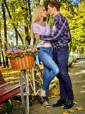 Spring couple walking park. Summer friends walk outdoor. Stock Image