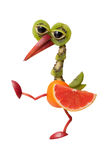 Walking bird made of fruits Stock Photography