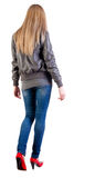 Walking Blonde Girl In Motion. Stock Images