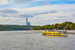 Walking boat. On Moscow river, Russia stock photos