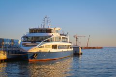 The walking boat in seaport, caspian sea Royalty Free Stock Image