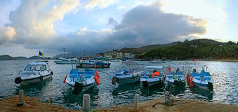 Walking boats  moored in harbor.Nha Trang Stock Photography