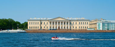 Walking boats on the river Neva Stock Image