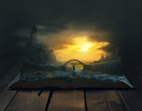 Walking through a book landscape royalty free stock photo