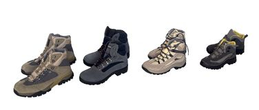 Walking boots. For the whole family Stock Images