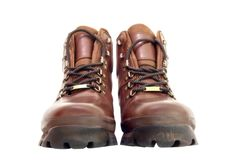 Walking Boots. Pair of new brown leather walking boots isolated on white Stock Photography