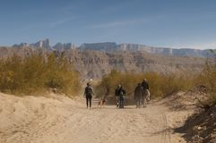 Walking into the Boquillas, Mexico. Several people walking and riding into town in the Boquillas, Mexico Stock Image
