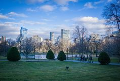 Boston Skyline from the commons view. Walking through boston commons park stock photo