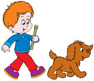 Walking Boy and Pup Royalty Free Stock Photography