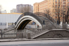 Walking bridge. Over Yauza river in Moscow royalty free stock photography
