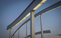Walking bridge in Barcelona. Walking bridge against a blue sky Barcelona stock images