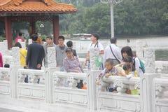 Walking on the Bridge corridor of visitors in SHENZHEN LIZHI park Royalty Free Stock Photos