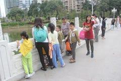 Walking on the Bridge corridor of visitors in SHENZHEN LIZHI park Stock Photo