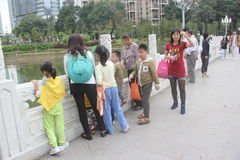 Walking on the Bridge corridor of visitors in SHENZHEN LIZHI park Stock Photo