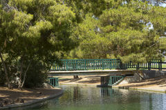 Walking Bridge at Cortez Lake, Phoenix, AZ Royalty Free Stock Images
