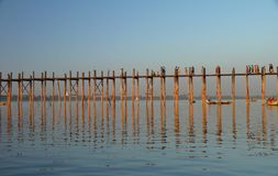 Walking bridge in Myanmar (Burma) royalty free stock photo