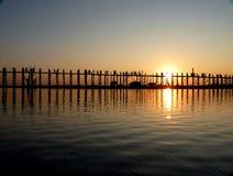 Walking bridge in Myanmar (Burma) Stock Image