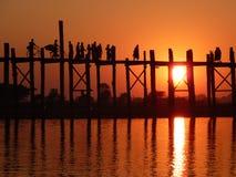 Walking bridge in Myanmar (Burma) Stock Images