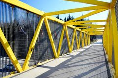 Walking bridge over bybass of Vilnius city in western side Stock Photos