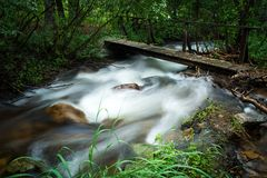 Walking bridge over flowing stream. A wooden bridge over a flowing wooded stream.  Rocky Mountain National Park Stock Photography