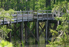 Walking Bridge. Over Greenfield lake in Wilmington, NC Stock Photos