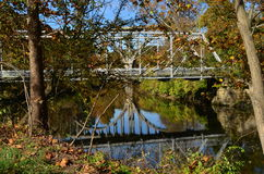 Walking bridge over river. In Cuyahoga Valley National Park stock photos