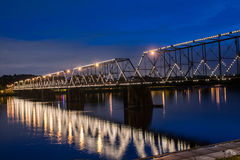 Walking Bridge. Over the Susquehanna River in Harrisburg Pennsylvania.  Photo taken at night time Stock Photo