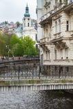 Walking bridge over Tepla river in  Karlovy Vary. Town, Czech Republic Stock Photo