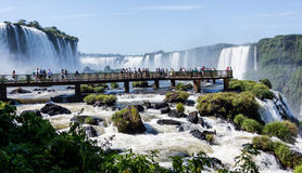 Walking Bridge overlooking the Brazil side of Iguassu Falls Stock Photos