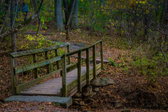 Walking bridge on park hiking trail. A wood walking bridge on a hiking trail in Lancaster County Central Park in Autumn Royalty Free Stock Photo