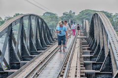 Walking the bridge on the river Kwai Stock Image