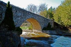 Walking bridge at Webster`s Falls stock image