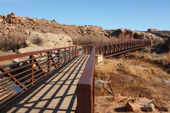 Walking bridge in wilderness Stock Images