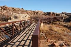 Walking bridge in wilderness Stock Images