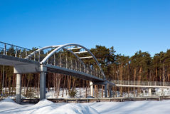 Walking bridge in winter forest Royalty Free Stock Images