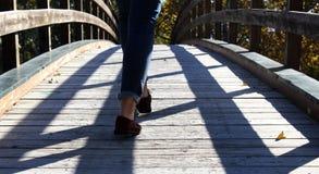 Walking the bridge Royalty Free Stock Image