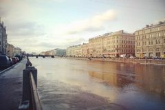 Walking on the bridges of Petersburg. In winter. Russia Stock Photography