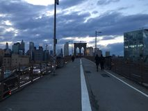 Walking in The Brooklyn Bridge Stock Photo