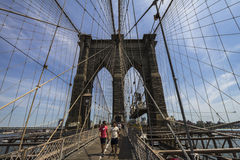 Walking on the Brooklyn Bridge, NYC Royalty Free Stock Photos