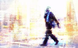 Multiple exposure image of walking people in London. Business concept illustration. Walking business people. Multiple exposure image. Business concept Royalty Free Stock Images