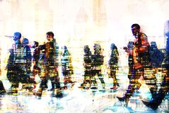 Multiple exposure image of walking people in London. Business concept illustration. Walking business people. Multiple exposure image. Business concept Royalty Free Stock Photos