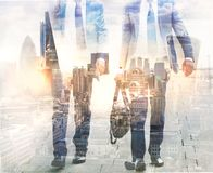Multiple exposure image of walking people in London. Business concept illustration. Walking business people. Multiple exposure image. Business concept Royalty Free Stock Image