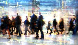 Multiple exposure image of walking people in London. Business concept illustration. Walking business people. Multiple exposure image. Business concept Royalty Free Stock Photo