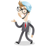 Walking businessman with jet pack Royalty Free Stock Images