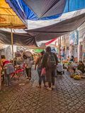 Walking the busy street market in Teloloapan, Guerrero. Travel in Mexico royalty free stock image