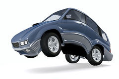 Walking car. Car walking on its rear wheels conceptual 3d illustration isolated on white Stock Photo